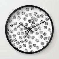 polka dots Wall Clocks featuring Polka Dots by Take F1ve