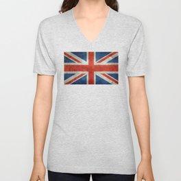 """English Flag """"Union Jack"""" bright retro 3:5 Scale Unisex V-Neck"""