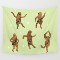 fangirl Wall Tapestries featuring Wookie Dance Party by Sophie Corrigan