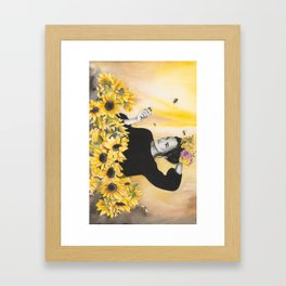 Sunflowers & Honey Bees Framed Art Print