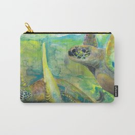 "Giant Sea Turtle Watercolor Fine Art Print Reproduction Painting ""The Lovers"" Carry-All Pouch"