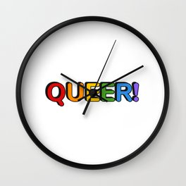 QUEER rainbow colors Wall Clock