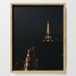 Eiffel Tower at Night from L'Arc de Triomphe Serving Tray