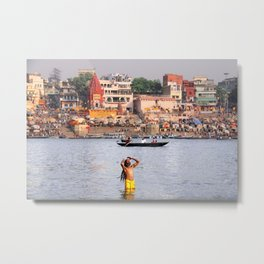 Sunrise in timeless and holy Varanasi along the banks of the Ganges, India Metal Print