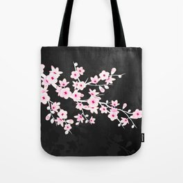 Pink Black Cherry Blossom Tote Bag