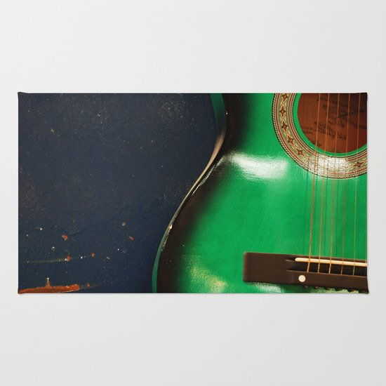 Green guitar Rug