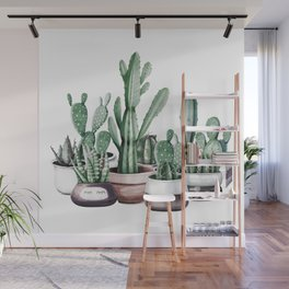 Cactus + Succulents Rose Gold Pattern by Nature Magick Wall Mural