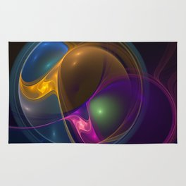 Energy, Colorful Abstract Fractal Art Rug