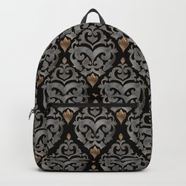 Persian Oriental Pattern - Watercolor black and gold Backpack
