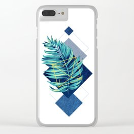 flying leaf on blue Clear iPhone Case