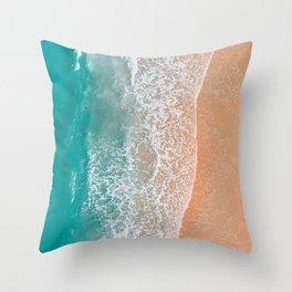 Teal Ocean Beach Bliss Throw Pillow