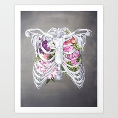 Floral Ribcage Art Print