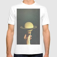 Saturn Cone MEDIUM Mens Fitted Tee White