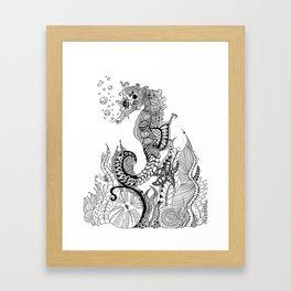 Zentangle Seahorse Framed Art Print