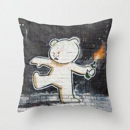 Banksy's Big Bad Bear Throw Pillow