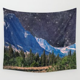 Night Sky Mountain Wall Tapestry