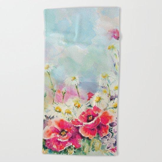 Poppies 07 Beach Towel