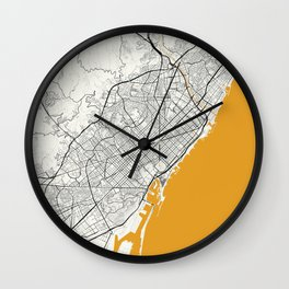 Barcelona map Wall Clock
