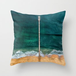 AERIAL - SHOT - OF - GRAY - DOCK - ON - BODY - OF - WATER - PHOTOGRAPHY Throw Pillow