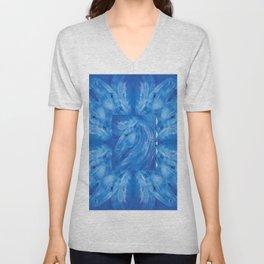 Blue Stallion Pattern Unisex V-Neck