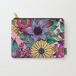 Floral Vibrant Hand Drawn Illustrated Flowers Carry-All Pouch