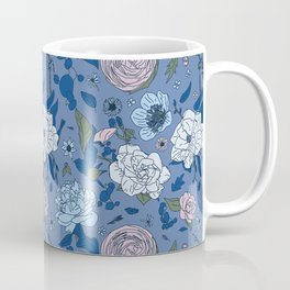 Lovely Seamless Floral Pattern With Subtle Poodles (Hand Drawn) Coffee Mug
