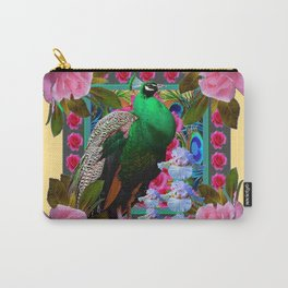YELLOW-PUCE  PURPLE & PINK ROSES GREEN PEACOCK FLORAL Carry-All Pouch