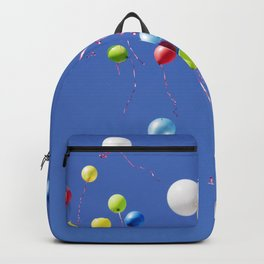 Colored flying balloons in the blue sky  Backpack