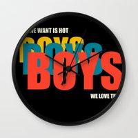 boys Wall Clocks featuring Boys Boys Boys by Pop Invasion