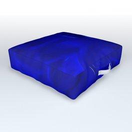Royal Blue Fractal dahlia Outdoor Floor Cushion