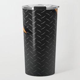 Red/Orange Metal Razor on Dark Diamond Plate Abstract Travel Mug