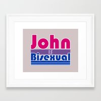 bisexual Framed Art Prints featuring JOHN IS BISEXUAL by FineFeather