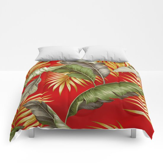 HAWAIIAN GARDEN TROPICAL LEAVES | tomato red gold Comforters
