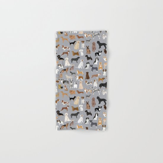 Mixed Dog lots of dogs dog lovers rescue dog art print pattern grey poodle shepherd akita corgi Hand & Bath Towel