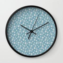 Christmas Icy Blue Velvet Snow Flakes Wall Clock