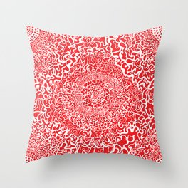Red & White Abstract Love Throw Pillow