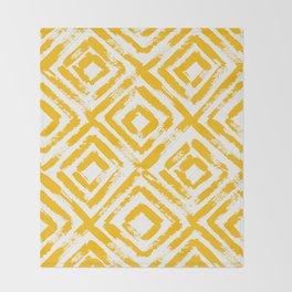Amber Yellow Geometric Print Throw Blanket