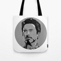 tony stark Tote Bags featuring Tony Stark by Hazel