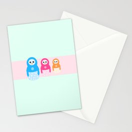 Winter matrioshka candy penguins Stationery Cards