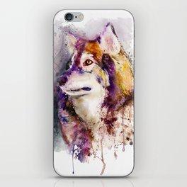 Watercolor Wolf Portrait iPhone Skin