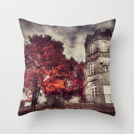Red Tower of autumn, red trees in a park, old white tower building Throw Pillow