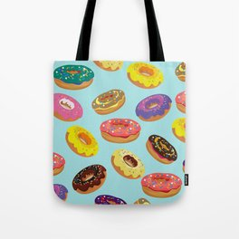 Donuts Pattern Kitchen Home Decor Sky Blue Art Print Donuts Poster Decoration Cartoon Graphic Design Tote Bag