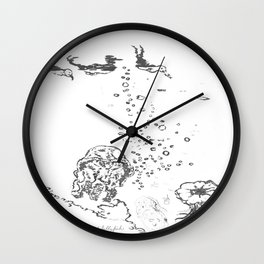 Two Tailed Duck and Jellyfish White Wall Clock