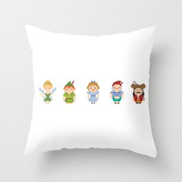 Peter Pan All Pixel Characters Throw Pillow