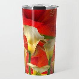 RED AMARYLLIS & CALLA LILY HOLIDAY FLORALS Travel Mug