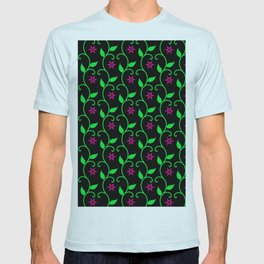 Pink flowers and green vines on black T-shirt