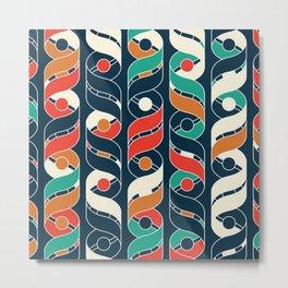 Colorful Vintage Geometric Stripes Pattern Metal Print