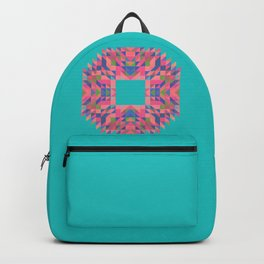NARCISSUS fuchsia pink turquoise blue geometric holiday wreath Backpack