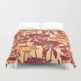 Tulips in Forever Golden Duvet Cover