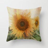 sunflower Throw Pillows featuring sunflower by VanessaGF